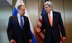 Russian Foreign Minister Sergey Lavrov, left, is welcomed by  U.S. Secretary of State John Kerry prior to bilateral talks in Munich, Germany,  Thursday, Feb. 11, 2016. (AP Photo/Matthias Schrader)
