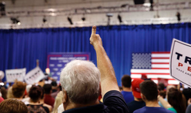 A supporter of Republican presidential candidate Donald Trump cheers during a campaign rally at Sun Center Studios, Thursday, Sept. 22, 2016, in Aston, Penn. (AP Photo/ Evan Vucci)