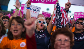 Supporters of Republican presidential candidate Donald Trump cheer during a campaign rally, Monday, Oct. 24, 2016, in Tampa, Fla. (AP Photo/ Evan Vucci)