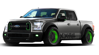 Boasting 12 inches of King shock-controlled travel via a Kibbetech custom suspension, this 2015 F-150 purpose-built by Formula DRIFT superstar Vaughn Gittin Jr. is designed to take full advantage of the weight savings and serious torque offered by the all-new F-150. With its unique, aggressive looks and Air Lift Performance air ride, this street truck aims to turn heads and elicit huge smiles, while providing massive amounts of fun and adrenaline for up to five