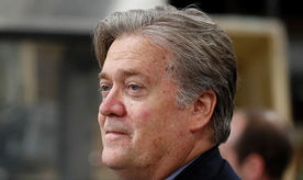 In this photo taken April 29, 2017, Steve Bannon, chief White House strategist to President Donald Trump is seen in Harrisburg, Pa. The Campaign Legal Center is complaining in a letter to the White House that Bannon may be illegally accepting outside professional services.(AP Photo/Carolyn Kaster)