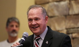 Judge Roy Moore speaks as he participates in the Mid-Alabama Republican Club's Veterans Day Program in Vestavia Hills, Alabama, U.S. November 11, 2017. REUTERS/Marvin Gentry - RC1AB117ADD0