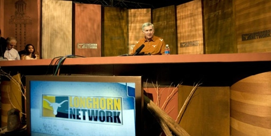 Football Coach Mack Brown inside the Texas Longhorns Network stuidios