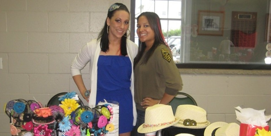 Gelenter, left, began making her headbands and accessories while in college at the University of Delaware.