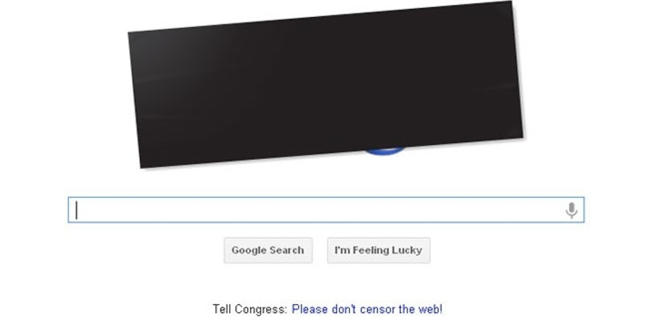 Jan. 18, 2012: Google has hidden its iconic logo from view, a protest against the SOPA Internet legislation.