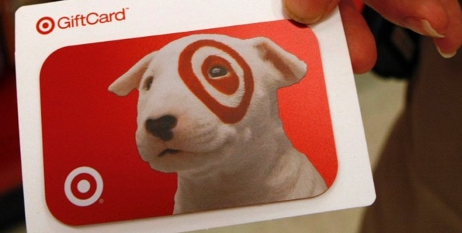 A Target gift card is displayed in a Target store in Fairfax, Virginia, February 4, 2010. January sales at top U.S. retail chains should rebound into positive territory from last year's decline as shoppers redeemed holiday gift cards and retailers avoided drastic clearance sales. Retailers ranging from Target Corp to J.C. Penney Co Inc to American Eagle Outfitters Inc will report January sales on Wednesday and Thursday. REUTERS/Stelios Varias (UNITED STATES - Tags: BUSINESS)