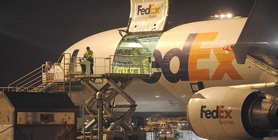 Nov. 1: A cargo plane is loaded at the FedEx distribution center at the International Cargo Airport in Cologne, western Germany.