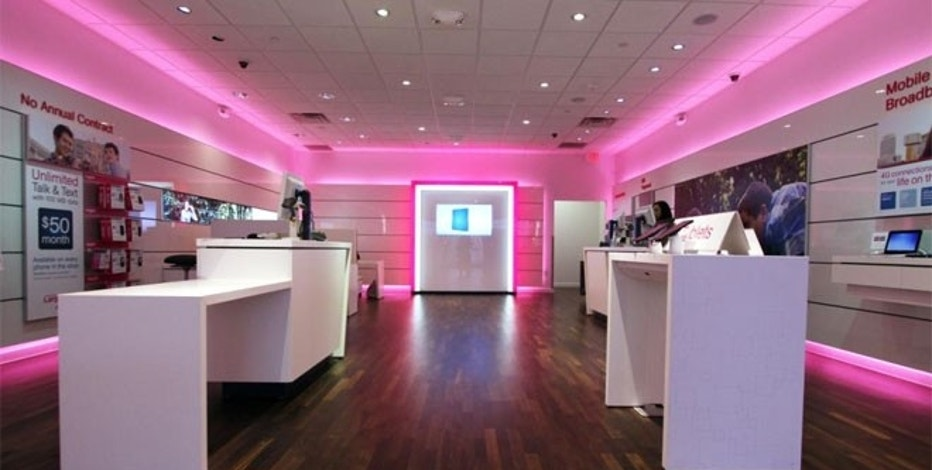 The interior of a T-Mobile retail store.