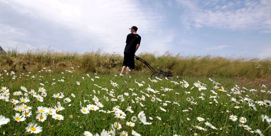 Andrew Clark, 15, looks over his shoulder while mowing a field in Penikese Island, Massachusetts, June 29, 2005. Penikese Island is a small school for boys between the ages of 15-18 who are in need of special services and have in some manner got into trouble with the law. Enrolment is limited to nine boys who live, work, and attend school on the island. The boys and staff are the islands only inhabitants. Picture taken June 29, 2005. REUTERS/Jessica Rinaldi  JR/KS