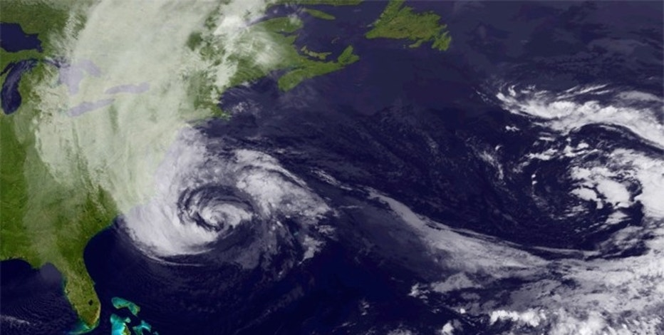 Oct. 29, 2012: Hurricane Sandy covers the East Coast in this early morning satellite view.