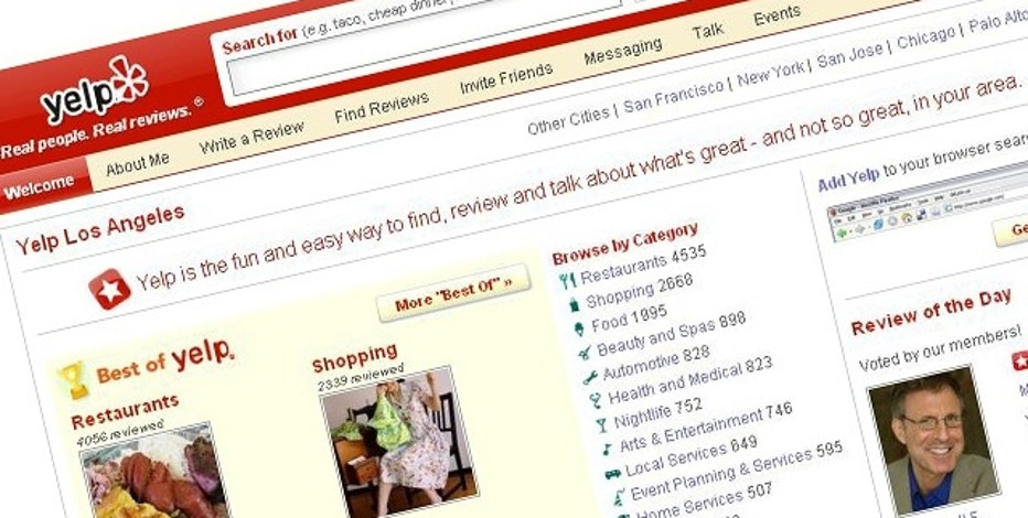A screen capture of popular reviews Web site Yelp. A recent lawsuit accuses the site of essentially fraudulent reviews.
