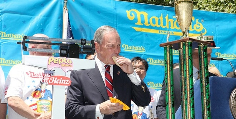 Mayor Bloomberg Speaks in 2011 at Annual Weigh-In Ceremony for Nathan's Famous International Hotdog Eating Contest.