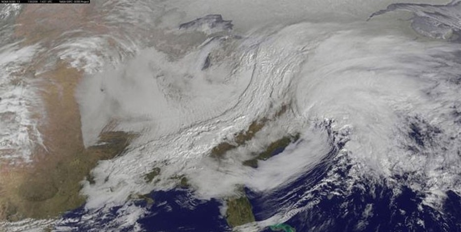 Winter storms are seen over the northeastern United States in this February 8, 2013 GOES satellite image courtesy of NOAA.