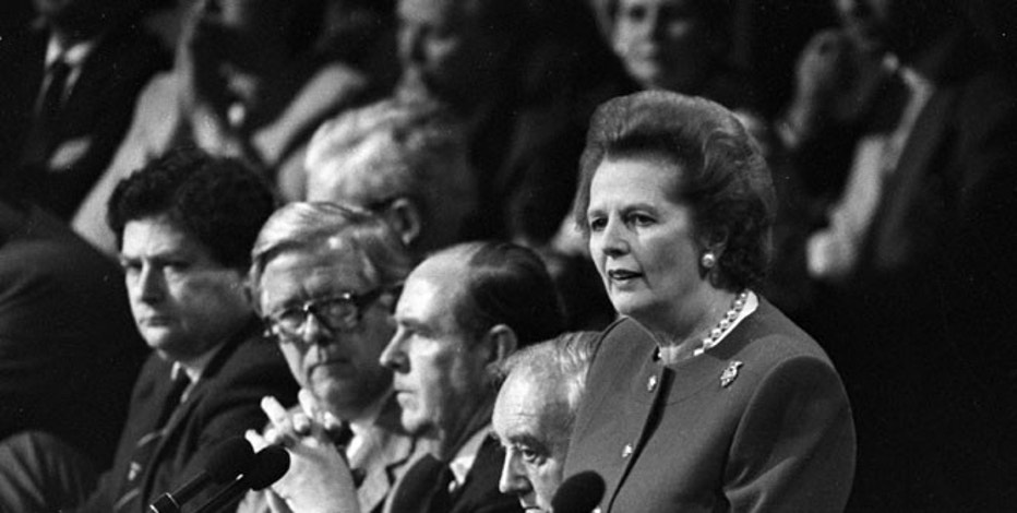 FILE PHOTO - Margaret Thatcher gives the final address of the Conservative Convention in Brighton on October 14, 1988.