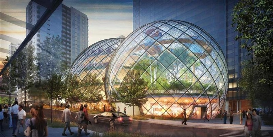 The proposed Amazon corporate headquarters in Seattle, Washington, is pictured in this artist's rendering courtesy of NBBJ. NBBJ/Handout via Reuters