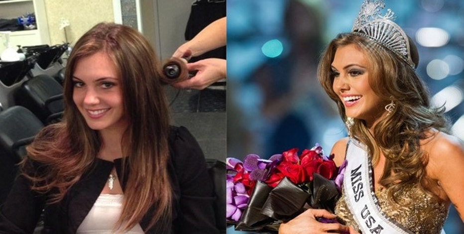 Erin Brady at Allusions Salon in Branford, Connecticut at left; at right, getting crowned Miss USA