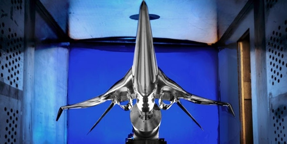 A subscale model of a potential future low-boom supersonic aircraft designed by Boeing that has been installed for testing in the supersonic wind tunnel at NASA's Glenn Research Center.