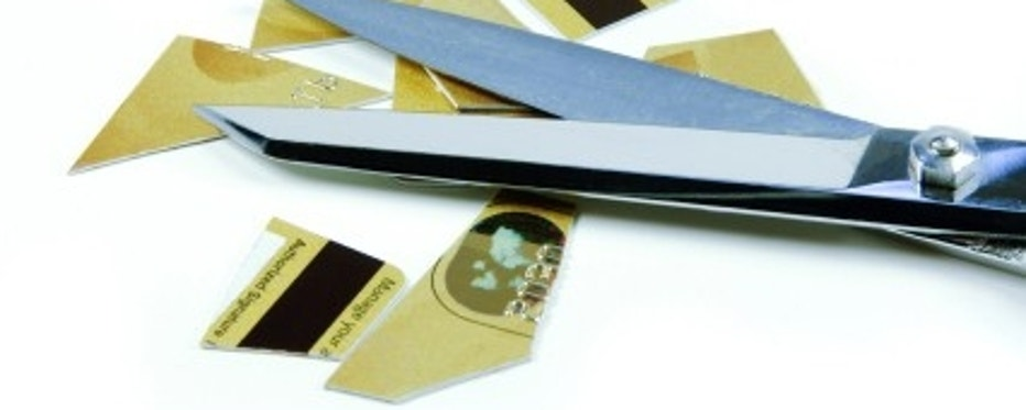 Credit Card Pieces and Scissors
