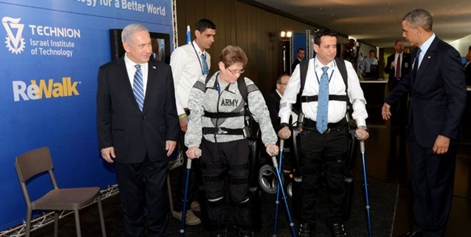 ReWalk Demonstration for President Obama & Prime Minister Netanjahu, with Sgt Hanningan and Radi Kaiuf, Jerusalem, Israel