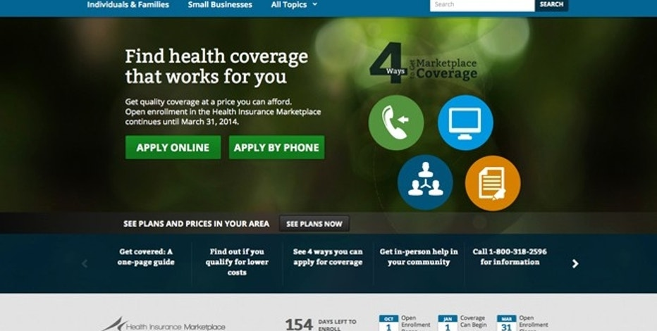 This screenshot made Monday, Oct. 28, 2013 shows the U.S. Department of Health and Human Services' main landing web page for HealthCare.gov.