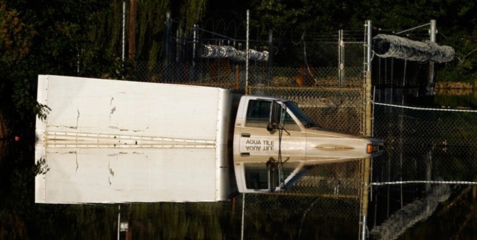 A truck stuck in flooded waters in Wayne, N.J. from Hurricane Irene.