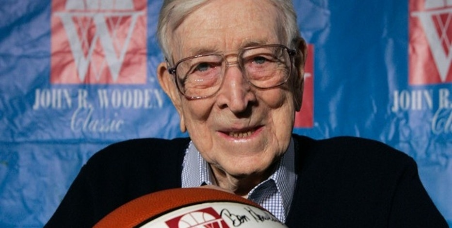 UCLA Coach John Wooden, seen here in a Dec. 9, 2005 file photo, died Friday at 99.