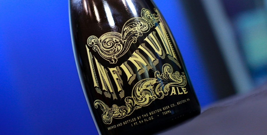 A bottle of Boston Beer Company's Infinium is seen in New York in this picture taken November 5, 2010. Boston Beer Co Inc's Samuel Adams is launching the champagne-like brew later this month to prove that beer can be worthy of a New Year's toast. Infinium, the limited run beer, will be sold in 750-mL bottles with foil-covered cork tops, like champagne. It is gold-colored, crisp and dry, with nearly double the alcohol content of an average beer and more than some wines. Picture taken November 5. To match Interview BEER-IMAGE/ REUTERS/Mike Segar    (UNITED STATES - Tags: BUSINESS) - RTXUFTV