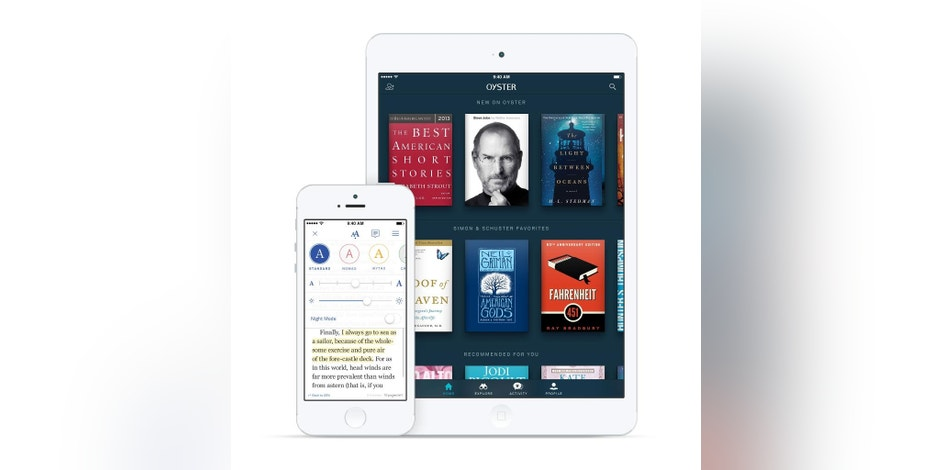 This product image provided by Oyster shows the Oyster e-book app on an iPhone, left, and iPad. Oyster and Scribd let you read as many books as you want for a monthly price _ $10 for Oyster and $9 for Scribd. (AP Photo/Oyster)