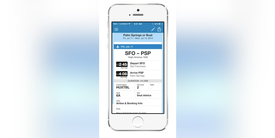 This product image provided by TripIt shows the TripIt app for iPhone. TripIt automatically creates a day-by-day travel itinerary based on all the flight, hotel and other confirmation emails that you forward to a given TripIt address. (AP Photo/TripIt)
