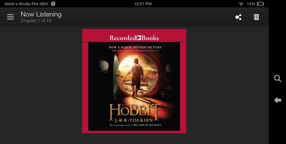 "This screen shot taken from an Kindle Fire HDX shows ""The Hobbit"" by J.R.R. Tolkien, an audiobook available through Amazon's Kindle Unlimited subscription service. The service will allow unlimited access to thousands of electronic books and audiobooks for $9.99 a month in the online giant's latest effort to attract more users. (AP Photo)"