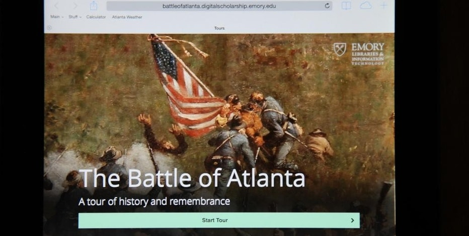 The Battle of Atlanta mobile app's start page from an iPad is seen Thursday, July 17, 2014, in Atlanta. Emory University's Center for Digital Scholarship released a web-based, GPS enhanced app for mobile devices to honor the 150th anniversary of the historic Battle of Atlanta. The app is a tour of the 12 most significant battle events that began July 22, 1864. (AP Photo)