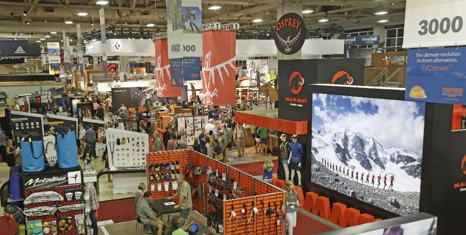 Vendors display their wares at the Outdoor Retailer's summer show in Salt Lake City on Wednesday, Aug. 6, 2014. The biannual show brings thousands to Utah. The world's largest outdoor-gear trade show runs Wednesday through Saturday at the Salt Palace Convention Center. (AP Photo/Rick Bowmer)