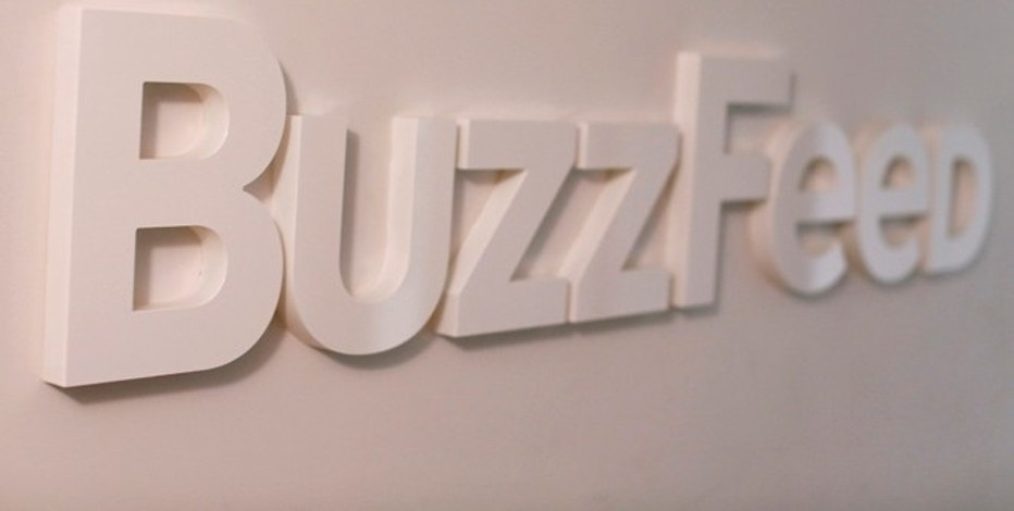 The BuzzFeed logo is seen outside their offices in New York February 19, 2013. The news website BuzzFeed was started by Jonah Peretti in 2006. It has skyrocketed in the  popularity of media watchers for its innovative mix of news and advertising, including a mix of high-and low-brow content, photos driven by social media and sponsored stories.