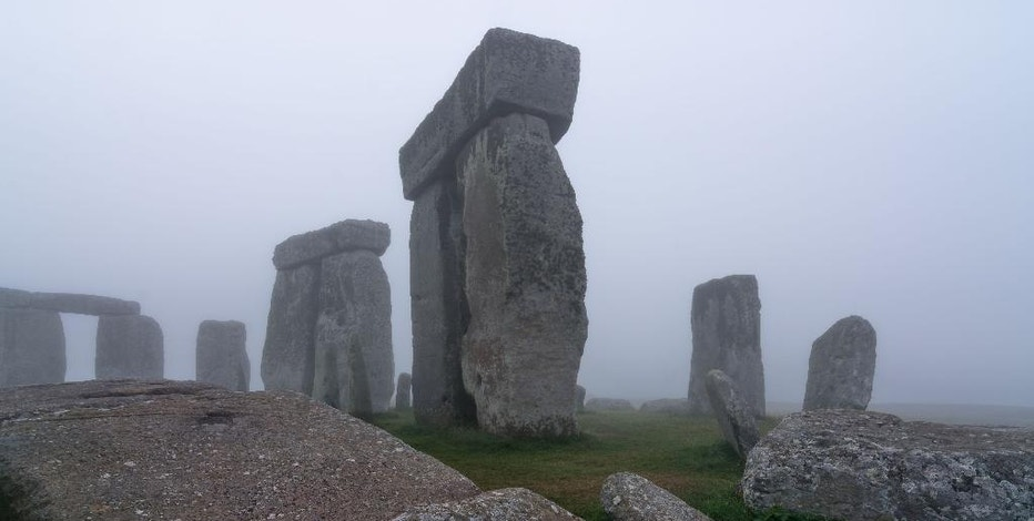 An undated photo made available by the University of Birmingham, England, of Stonehenge where a hidden complex of archaeological monuments has been uncovered using hi-tech methods of scanning below the Earth's surface. (AP Photo/University of Birmingham, Geert Verhoeven)
