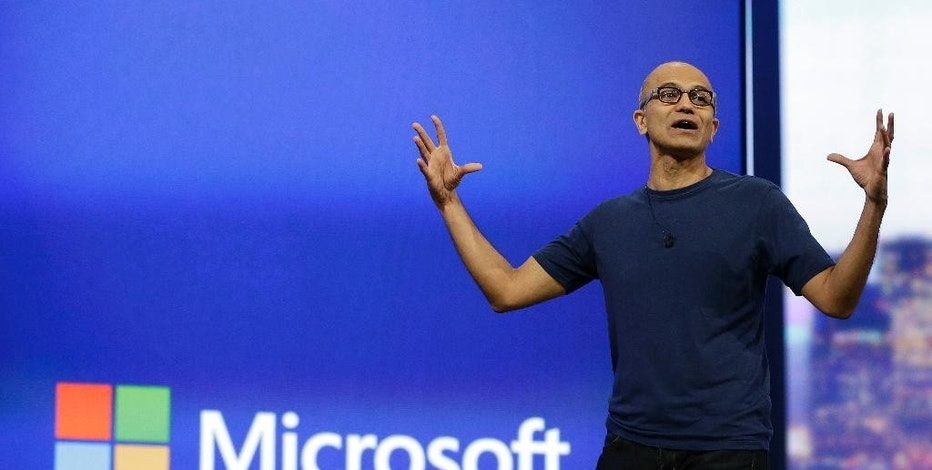 FILE - In this April 2, 2014 file photo, Microsoft CEO Satya Nadella gestures during the keynote address of the Build Conference in San Francisco. Microsoft plans to offer a glimpse of its vision for Windows on Tuesday, Sept. 30, 2014, as Nadella seeks to redefine the company and recover from missteps with its flagship operating system. (AP Photo/Eric Risberg, File)