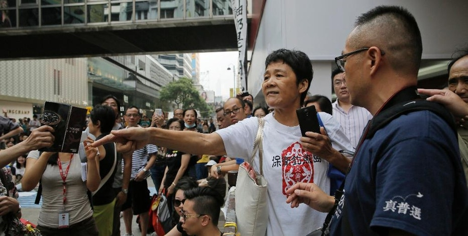 A pro-government supporter, center, argues with pro-democracy  protesters during a rally in Hong Kong, Thursday, Oct. 2, 2014. Shops in Hong Kong have closed and the local stock market has plunged but protesters are gambling their agitation for greater democracy will pay off by preserving institutions that made this former British colony a profitable asset to China. (AP Photo/Vincent Yu)