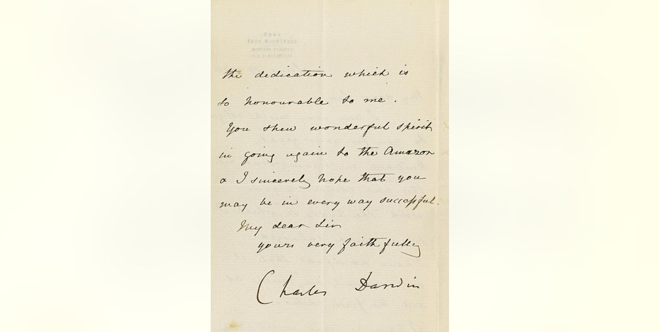 This undated photo provided by Bonhams shows the signature of Charles Darwin on a June 19, 1876 letter that is among the items being offered for auction on Oct. 22, 2014 by Bonhams auction house in New York. The letter by Darwin to a colleague, on the sex life of barnacles, has a pre-sale estimate of $20,000 to $30,000. (AP Photo/Bonhams)
