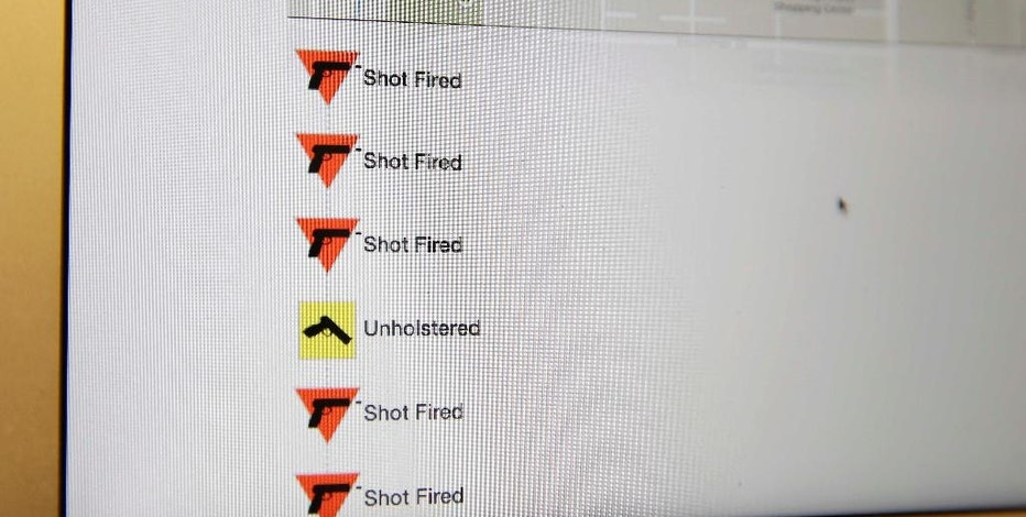In this photo taken Wednesday, Oct. 22, 2014, a computer screen displays Yardarm's publishing of real time gun events on Google maps in San Francisco. A California-based startup has designed new law enforcement technology that aims to automatically alert dispatch when an officer's gun is unholstered and fired. Yardarm can also track where an officer's gun is located and in which direction it's fired. (AP Photo/Eric Risberg)