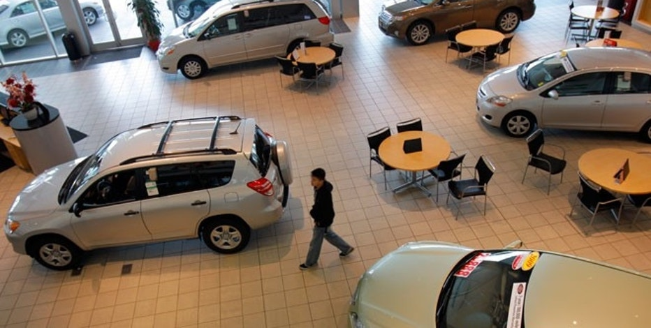 Cars in a Toyota dealership
