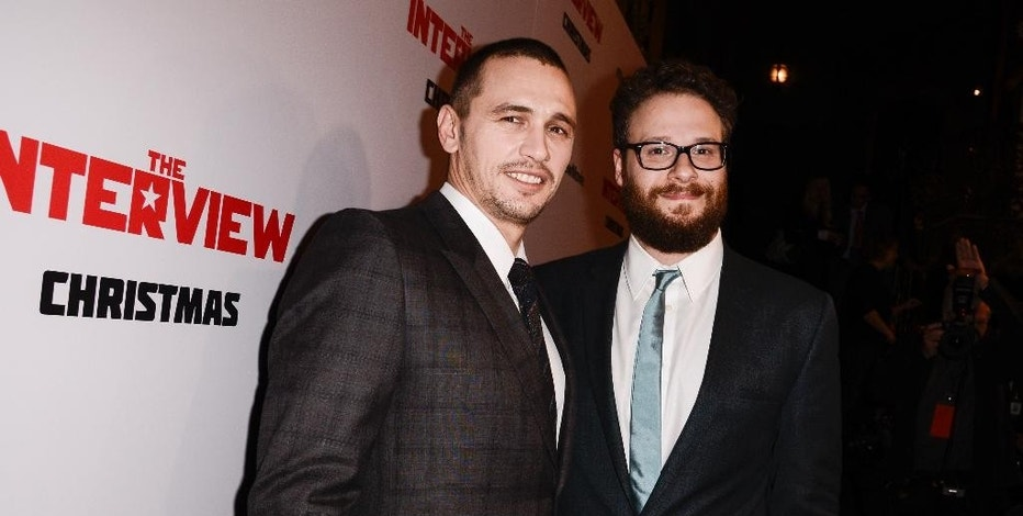 "FILE - In this Dec. 11, 2014 file photo, actors Seth Rogen, right, and James Franco attend the premiere of the Sony Pictures' film ""The Interview"" in Los Angeles. Amid threats by hackers against movie theater's showing the film, Rogen and Franco pulled out of all media appearances promoting the film Tuesday, Dec. 16, 2014, canceling a Buzzfeed Q&A and Rogen's planned guest spot Thursday on ""Late Night With Seth Meyers."" (Photo by Dan Steinberg/Invision/AP Images, File)"