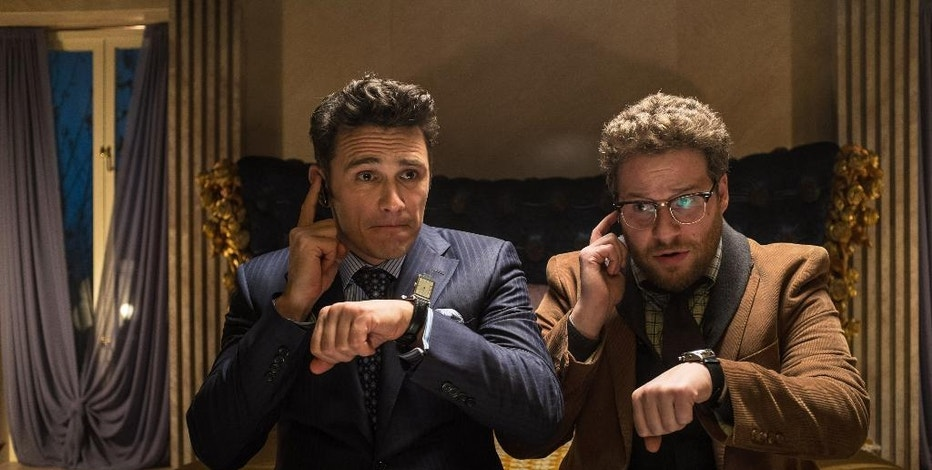 "This photo released by Sony - Columbia Pictures shows James Franco, left, as Dave and Seth Rogen as Aaron in a scene from Columbia Pictures' ""The Interview."" (AP Photo/Sony - Columbia Pictures, Ed Araquel)"