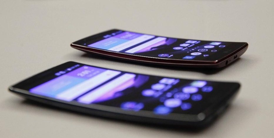 The LG G Flex 2 during a media preview before CES International Sunday, Jan. 4, 2015, in Las Vegas. (AP Photo/John Locher)