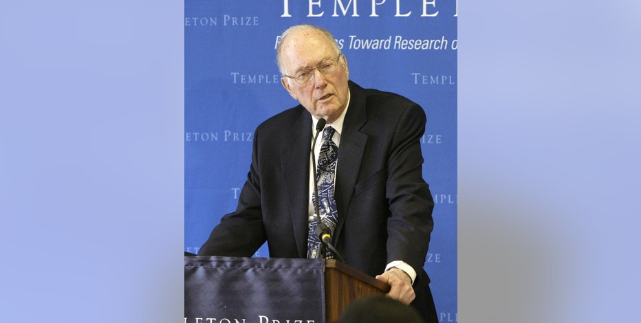 File - In this March 9, 2005, file photo, Charles Townes speaks after winning the Templeton Prize in New York. Townes, the co-inventor of the laser and a Nobel laureate in physics, has died. He was 99. Officials at the University of California, Berkeley, where Townes was a professor emeritus, said he had been in poor health before he died Tuesday, Jan. 27, 2015, on the way to an Oakland, Calif., hospital. (AP Photo/Gregory Bull, File)