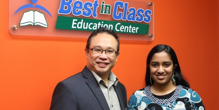 GRISM Founder Mayukha Vadari, 16, with her mentor and Best in Class Founder Hao Lam.