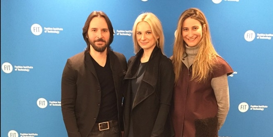 JoBeth Tananbaum, (right), with Karolina Zmarlak, (middle), one of the NYC Fashion Production Fund's first recipients, and Jesse Keyes, (left), President of the Karolina Zmarlak company at a FIT event.