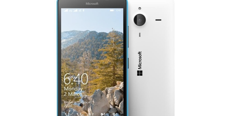 This undated product image provided by Microsoft shows the Lumia 640 XL smartphone. Prices for the 640 XL and the smaller 640 start at 139 euros ($156) before taxes, making them more affordable as a first smartphone. U.S. prices and dates haven't been announced, though AT&T says it will have the larger model exclusively. (AP Photo/Microsoft)