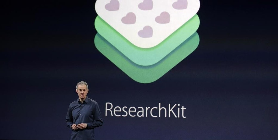 Apple Vice President of Operations, Jeff Williams, discusses ResearchKit during an Apple event on Monday, March 9, 2015, in San Francisco. (AP Photo/Eric Risberg)
