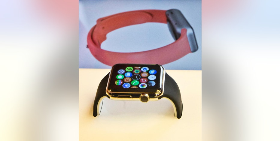 The Apple Watch appears on display, Friday, April 10, 2015, in New York. Apple has started taking orders for the watch on its website and the Apple Store app. Currently, that's the only way Apple is selling the watch, with shipments scheduled to start April 24. (AP Photo/Bebeto Matthews)