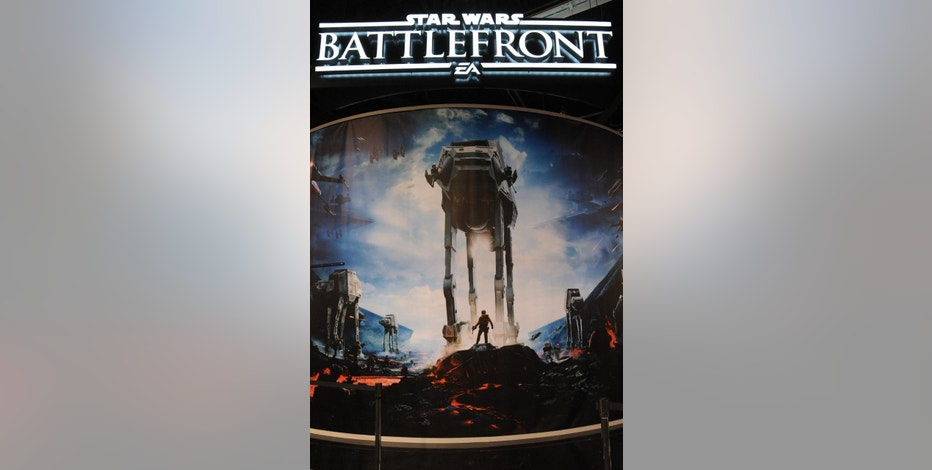 This photo shows the Star Wars: Battlefront video game exhibit at Star Wars Celebration: The Ultimate Fan Experience held at the Anaheim Convention Center on Thursday, April 16, 2015, in Anaheim, Calif. (Photo by Richard Shotwell/Invision/AP)