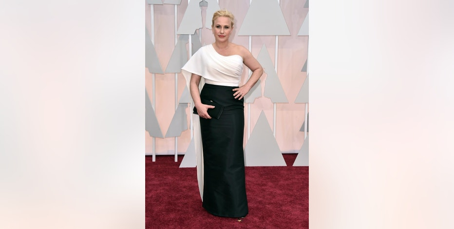 "FILE - In this Feb. 22, 2015 file photo, Patricia Arquette arrives at the Oscars at the Dolby Theatre in Los Angeles. Arquette has agreed to take the winner of a Chideo contest on an upcoming international relief mission as part of her charity, GiveLove. The Academy Award-winning actress touted Chideo's work on the red carpet of this year's Academy Awards in an interview with Ryan Seacrest that occurred hours before she won the Best Supporting Actress Oscar for her role in ""Boyhood."" (Photo by Jordan Strauss/Invision/AP, File)"